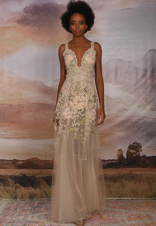 Claire pettibone fall 2018 collection bridal fashion week photos claire pettibone fall 2018 wedding dresses multicolored bodice with blush silk skirt junglespirit Images