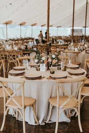 Wood Chargers on Round Tables at Tented Reception