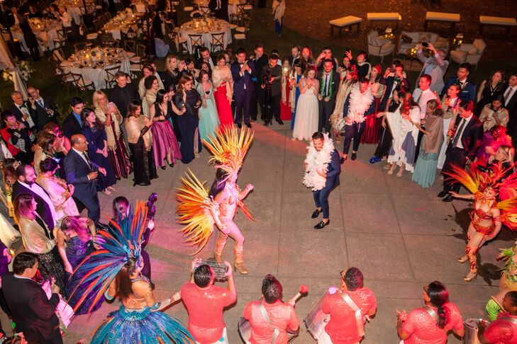 """""""It was really important to Renato to have Brazilian elements on the wedding,"""" Patrick says. """"Therefore, we brought our DJ from Brazil and we had a samba school perform and dance on the dance floor with the guests."""""""