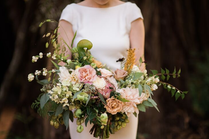 Blush Bohemian Bouquet with Cascading Greenery