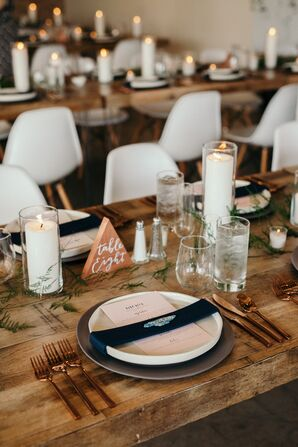 Eclectic, Rustic Tables with Red Clay Table Numbers
