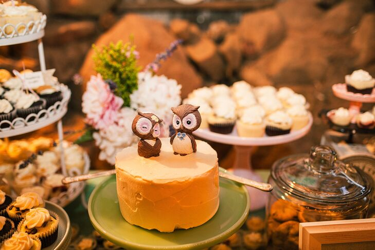 """""""One of the most personal pieces that stood out was our cake topper -- a homage to Ryan's grandmother and her love of owls. The owls were actually vintage salt and pepper shakers restored and redesigned by my best friend, who designed our super shabby-chic dessert table as well,"""" Chi says."""