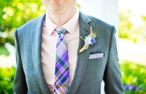 Pink Gingham Shirt with Purple Plaid Tie