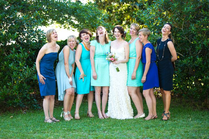 Mismatched Casual Blue Bridesmaid Dresses