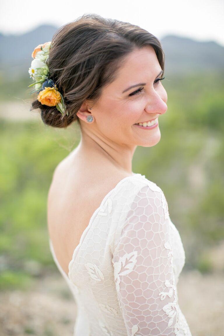 Half-styled flower crown hairstyle
