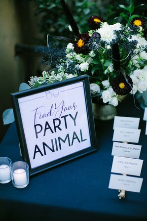 Escort Card Sign at Paramour Estate Wedding in Los Angeles