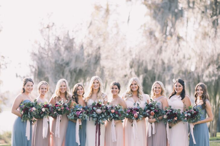 Bridesmaids in Blush, Mauve and Blue Chiffon Gowns