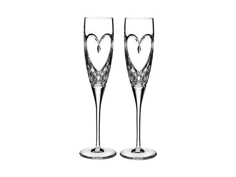 Heart crystal champagne flutes anniversary gift set