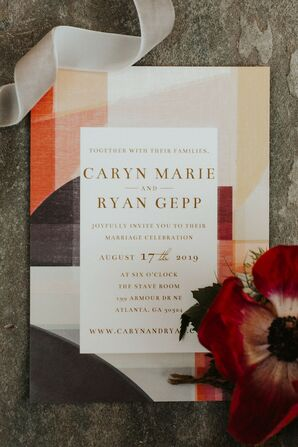 Modern Color-block Wedding Invitations with Typography