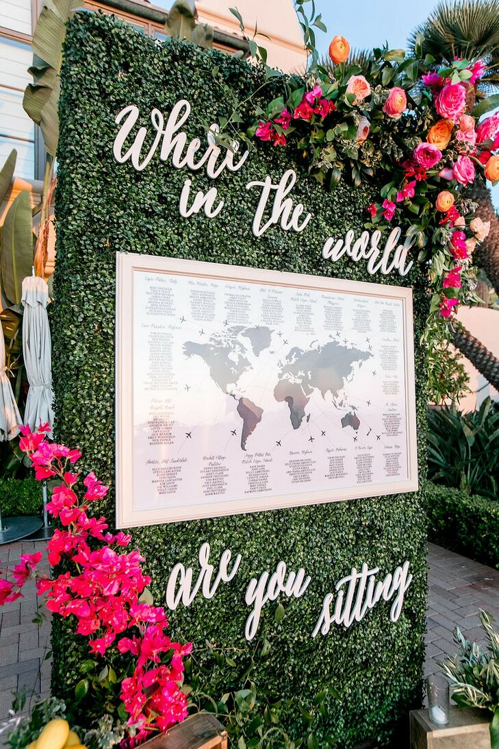 Modern Seating Chart Map with Flower Wall and Signage