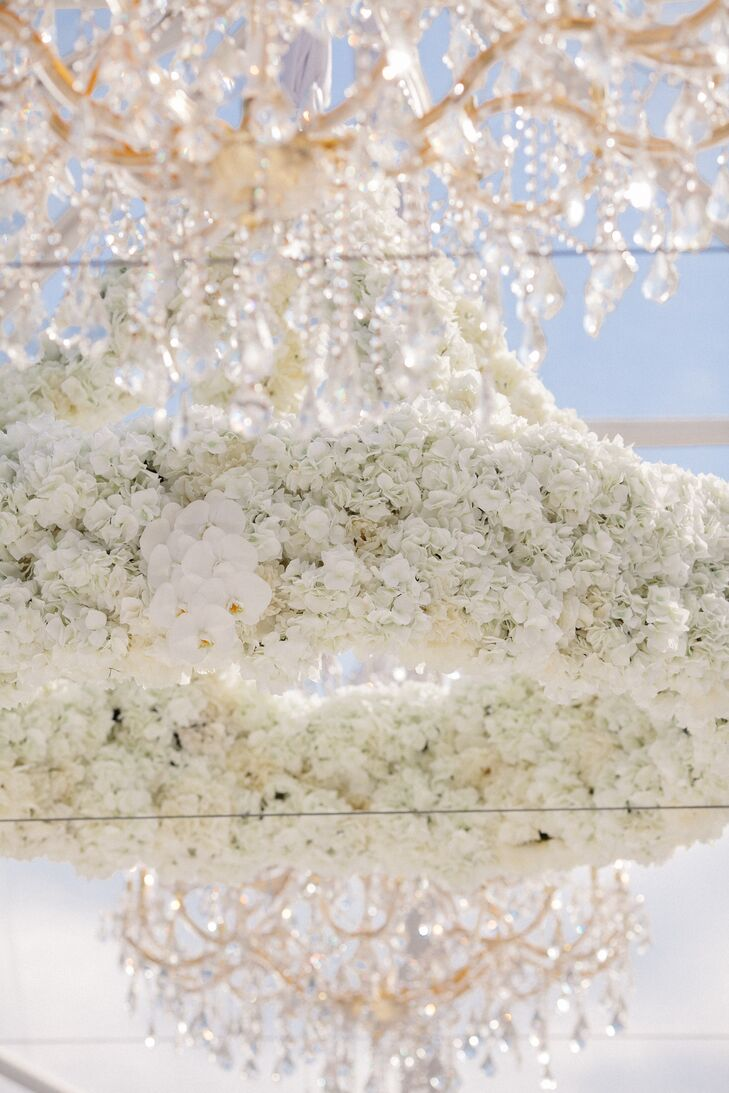 Chandeliers With White Orchids and Hydrangeas