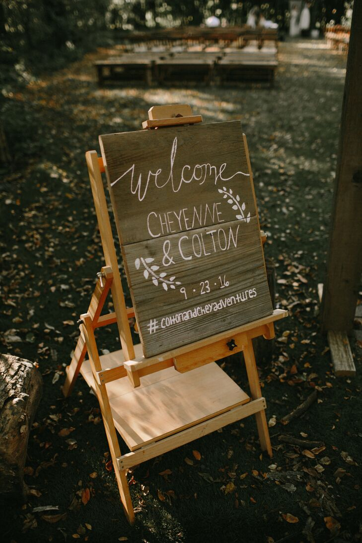 Welcome Sign on Wooden Easel