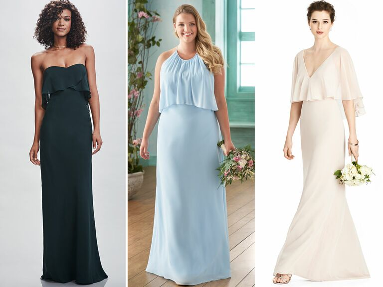 14ed560c5b A sheath dress with a layered bodice adds visual interest to a simpler  silhouette. It s also the perfect solution for those in your bridal party  who want a ...
