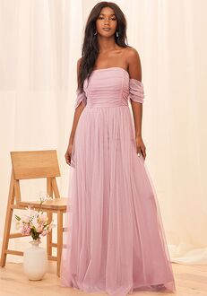 Lulus Moment Like This Lavender Tulle Off-the-Shoulder Maxi Dress Off the Shoulder Bridesmaid Dress