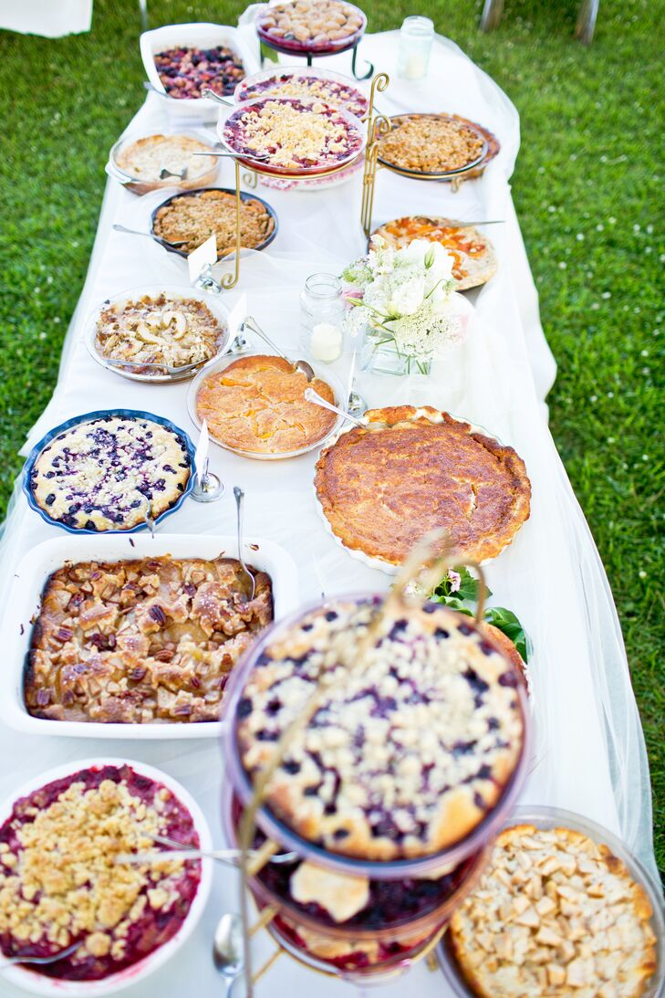 Instead of cake, friends from the village made cobblers and brought them in beautiful serving dishes.