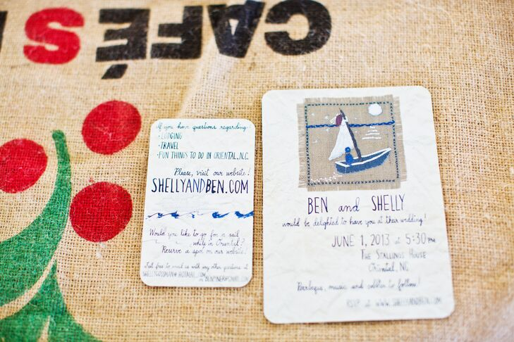 The bride's mother created and sewed an image on burlap of a bride and groom in a sailboat—with the bride's dress as the sail. This image was used for the wedding invites and the original was displayed on a tree at the reception.