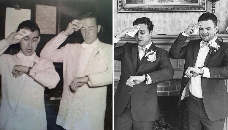 Groomsmen recreate old wedding photograph