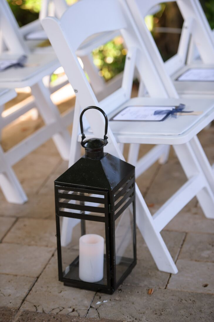 Sleek Black Candelit Lantern Aisle Decor