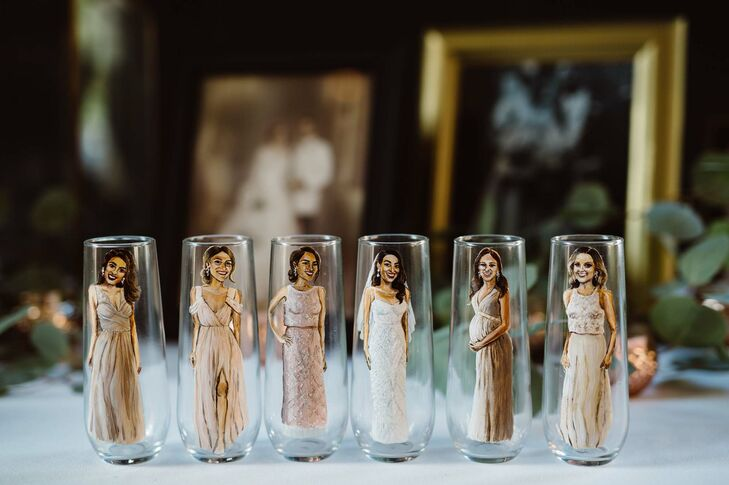 Painted Bridesmaid Champagne Flutes