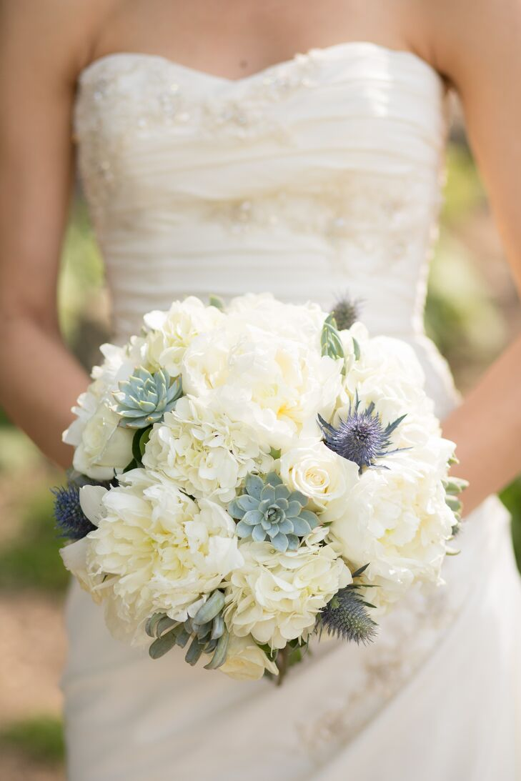 White Peony Hydrangea And Thistle Bouquet