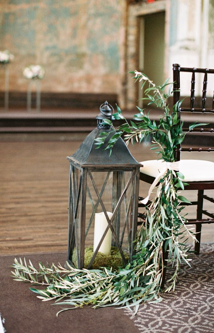 Vintage Moss-Filled Lanterns and Eucalyptus Bunches