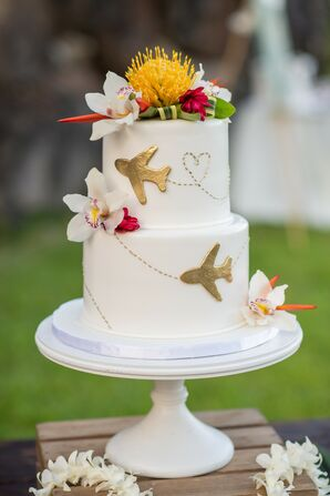 Modern Cake with Tropical Flowers and Airplane Decorations