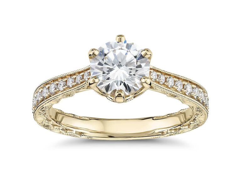 Blue Nile hand-engraved diamond engagement ring in 14K yellow gold