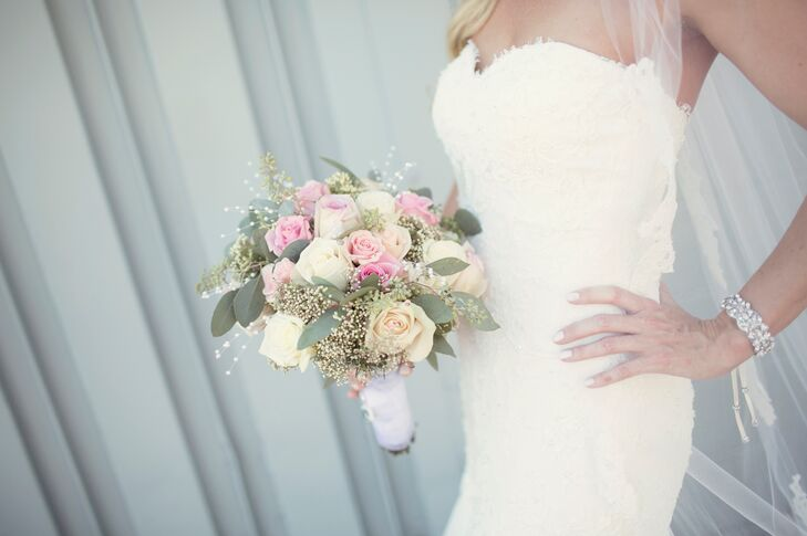When Katie began planning her wedding, she found a picture of her dream bouquet of pink and ivory roses with soft baby's breath in an issue of the Michigan publication of The Knot. Little did she know, the bouquet was designed by the same florist she hired for her own wedding!