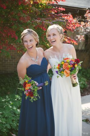 Full-Length, Navy, Strapless Bridesmaid Dress and Fall-Colored Bouquets