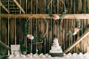 Rustic Wood Cake Stand with Round Tiered Buttercream Cake