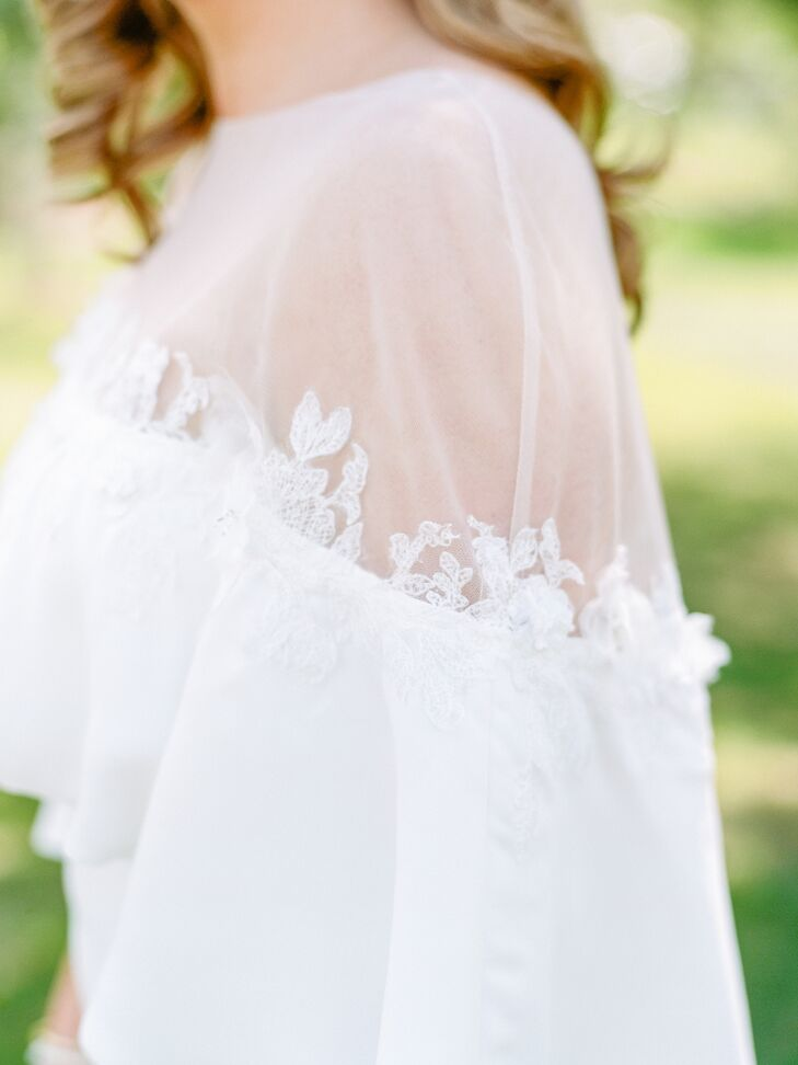 White Wedding Dress with Sheer Detailing