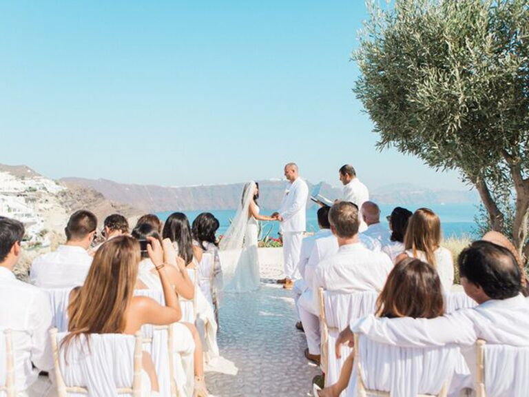 All white wedding ceremony