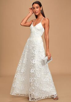Lulus Magically Charming White Sequin Embroidered Lace-Up Maxi Dress A-Line Wedding Dress