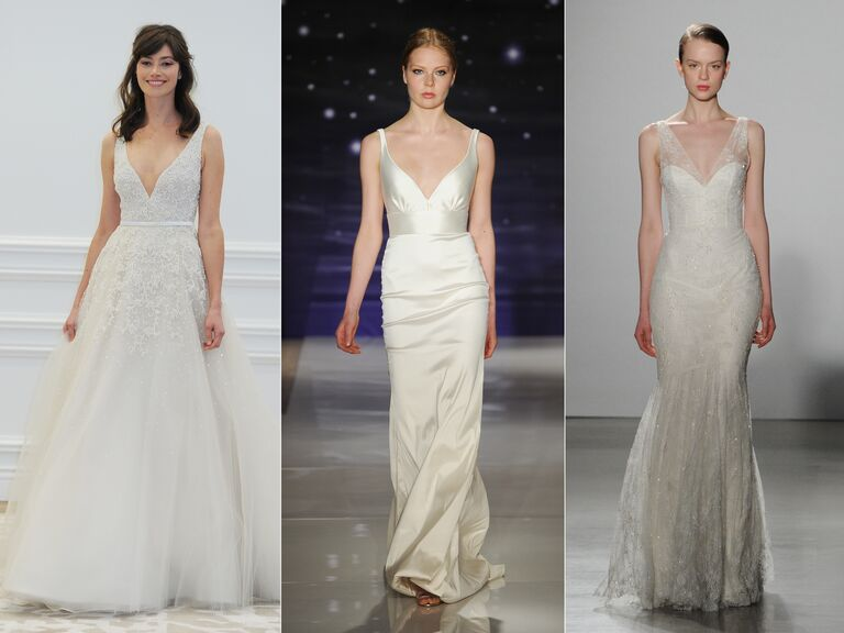 Wedding Dresses With Dipped V Necklines