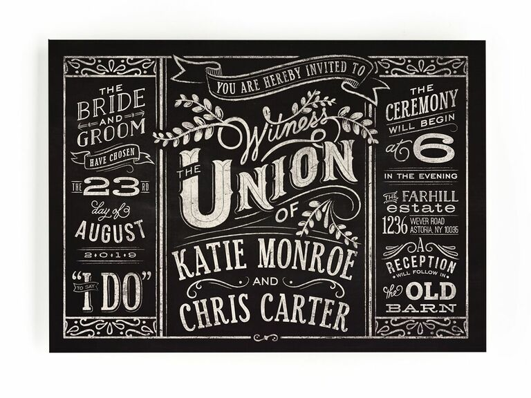 Rustic blackboard wedding invitation