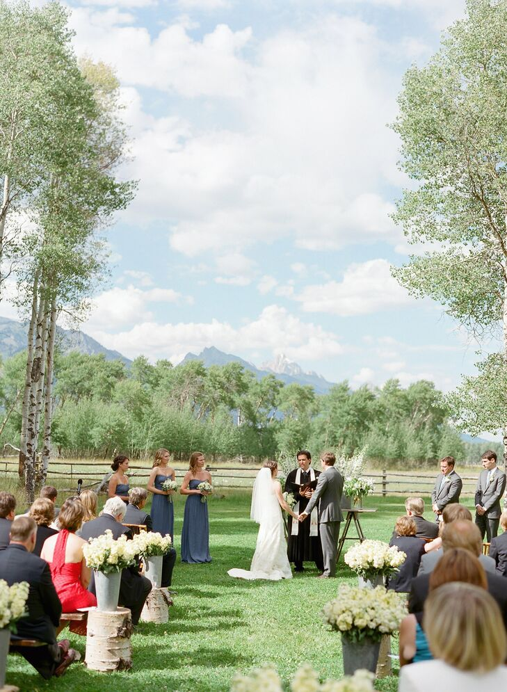 For the ceremony, guests sat on wooden benches, where they had a stunning view of the Grand Teton mountains.