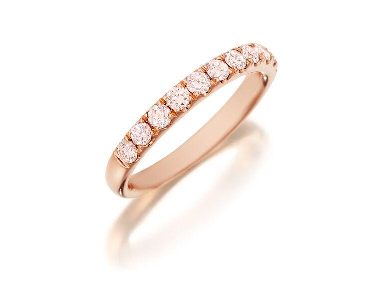 Henri Daussi rose gold pink diamond halfway wedding band