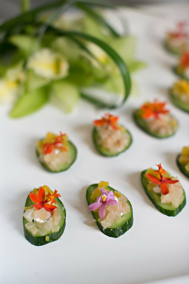 Edible fresh flowers topped some of the hors d'oeuvres, which included sashimi and sushi.