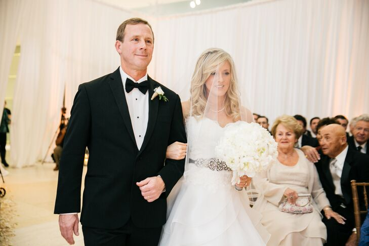 Bride in a Silk Organza Veil at Processional