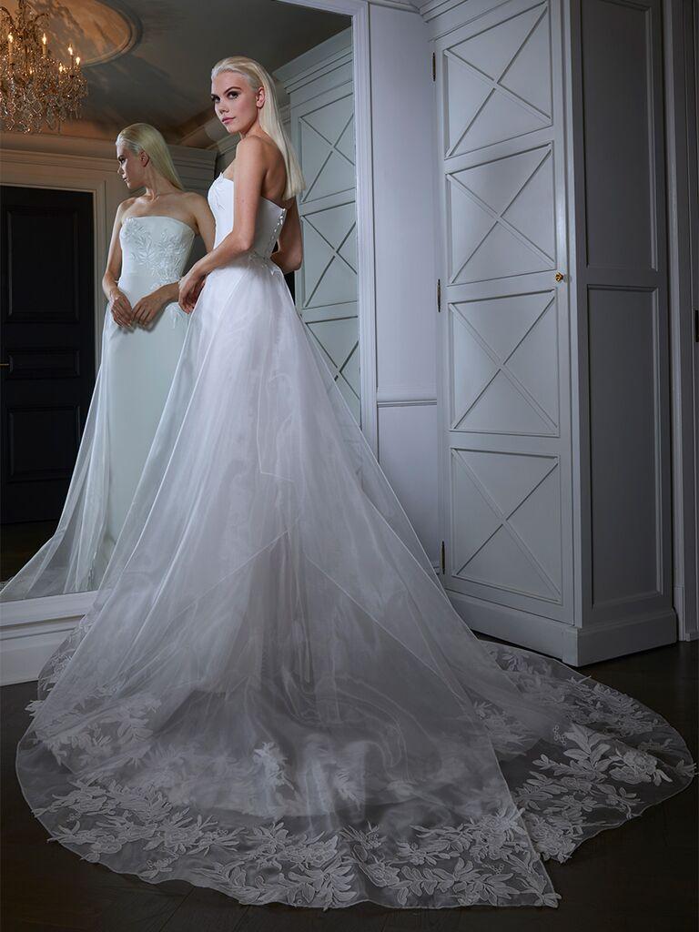 Romona Keveza wedding dress column dress with overskirt