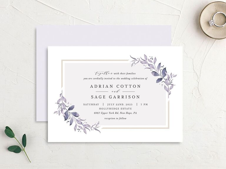 Summer wedding invitation with lavender color scheme