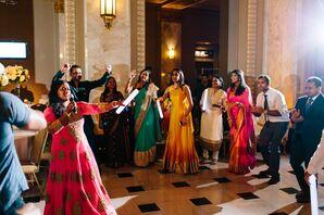 Guests Dance at Hindu Wedding Reception