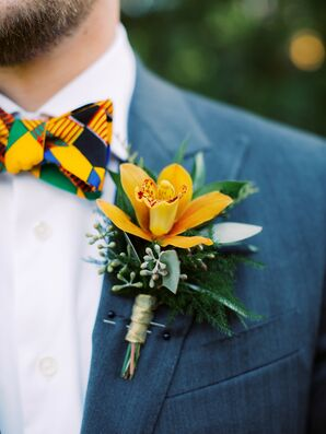 Orange Boutonniere for Ballantyne Country Club Wedding in Charlotte, North Carolina