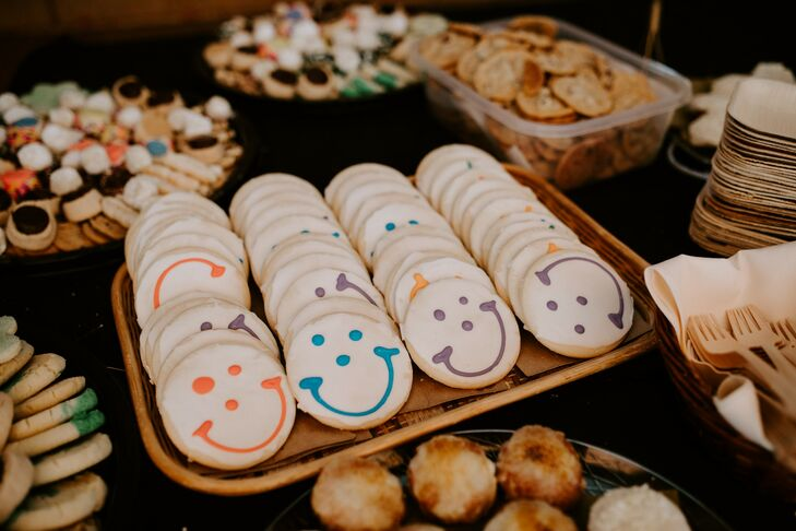 Smiley Cookie Display on Dessert Table