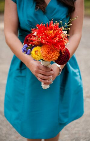 Orange Dahlia Bridesmaid Bouquets