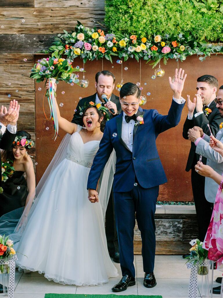 bohemian wedding ceremony exit with bubbles