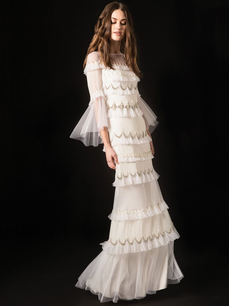 Temperley Spring 2020 Bridal Collection tiered vintage-inspired wedding dress with flutter sleeves