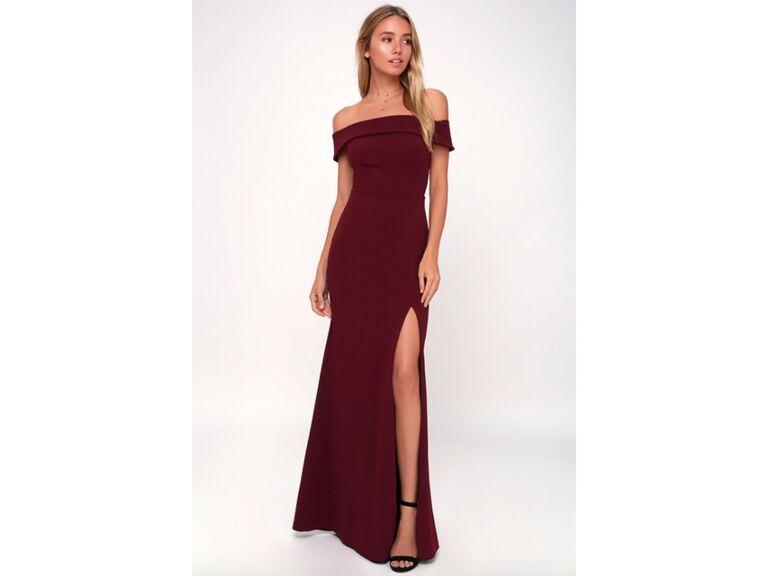 Burgundy off the shoulder gown