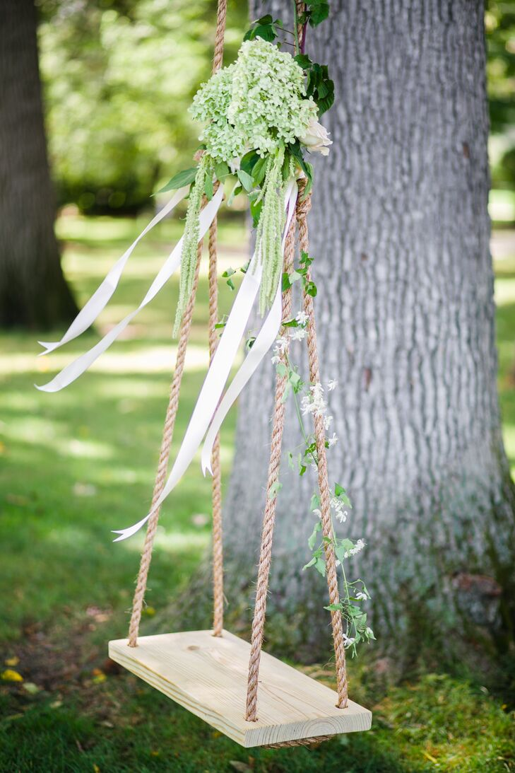 Whimsical Ribbon, Ivy and Hydrangea Adorned Swing