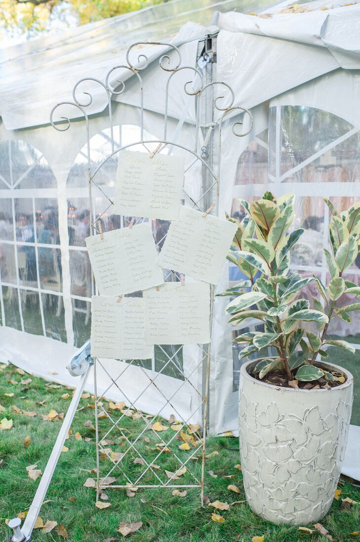 Hand-Lettered Seating Chart on Antique Trellis Display